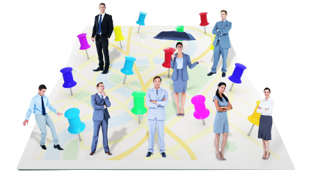 Business people spread out on a board with pins
